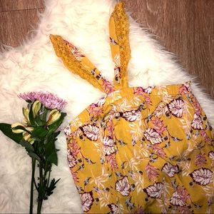 Tops - Mustard yellow floral tank blouse